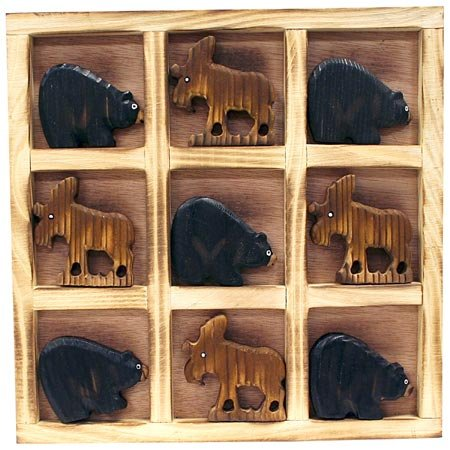(Wood Crafted Collectible Tic Tac Toe Travel Board Tray Set, Bear Moose, 8