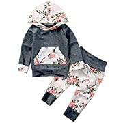 Baby Girls Long Sleeve Flowers Hoodie Top and Pants Outfit with Kangroo Pocket (70(0-6M), Grey)