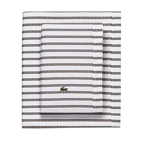 (Lacoste 100% Cotton Percale Sheet Set, Graphic Stripe Print, Dark Grey, Twin Extra Long)