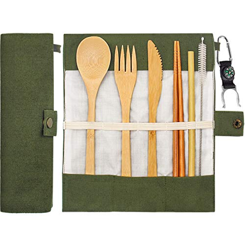 Bamboo Cutlery Set Bamboo Travel Utensils Portable Eco Friendly Flatware Set with Chopsticks, Knife, Fork, Spoon, Reusable Straws and Water Bottle Buckle for Camping Utensils Set -Green by aphqua
