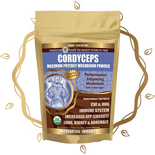 CORDYCEPS Full-Spectrum Mushroom Superfood Powder Highest Potency Performance Immunity Enhancer. Preworkout Oxygen Boost. Add to Smoothies Tea. Organic, Vegan, Non-GMO, Gluten-Free