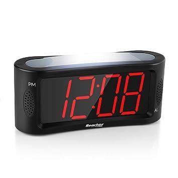 Despertador Digital, Reacher LED Reloj despertador con luz nocturna, Función Snooze, Atenuador de brillo de rango completo, 4,9 pulgadas Pantalla ...