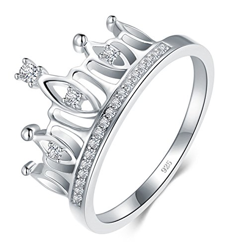 BORUO 925 Sterling Silver Ring, Cubic Zirconia Princess Crown Tiara Wedding Cz Band Eternity Ring