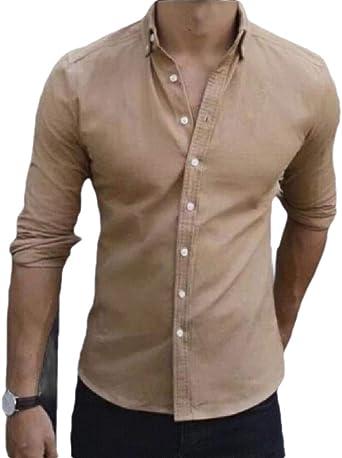 BingSai Camisa de Vestir de algodón Suelta, Casual, Corte ...