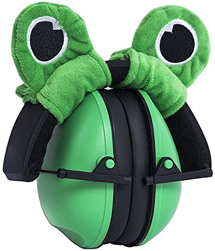 Baby ear protection earmuffs. Easily adjustable for noise reduction, by Growing Giants. (green)