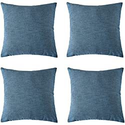 Deconovo Cushion Cover Outdoor Faux Linen Soft Throw Pillow Case Cushion Cover for Sofa 18x18 inch Blue Ashes Set of 4 No Pillow Insert