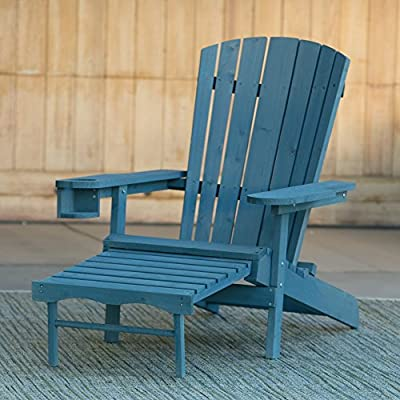 Adirondack Deck Chair with Pull-Out Ottoman Wooden Furniture - For All Weather on Patio Outdoor Garden Poolside Beach in 4 vibrant colors!