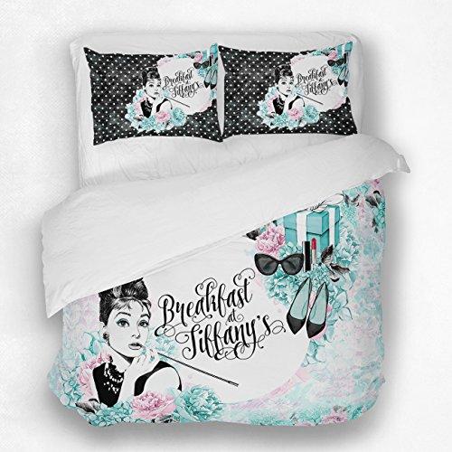 ArtBedding Designer Art Bedding Set, Breakfast at Tiffany's Mint Green and Pink Duvet Bedding Set Full (83