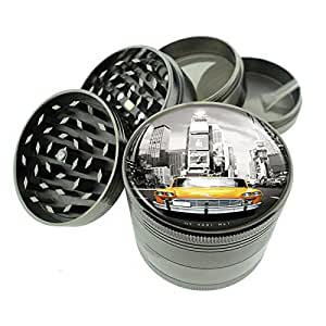 """Titanium 4 PC Magnetic Grinder 2.1"""" Hand Mueller D-035 New York Taxi in Time Square"""