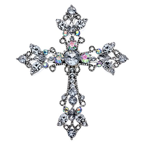 PammyJ Sparkling Cross Brooch Pin with Aurora Borealis and Clear Crystals