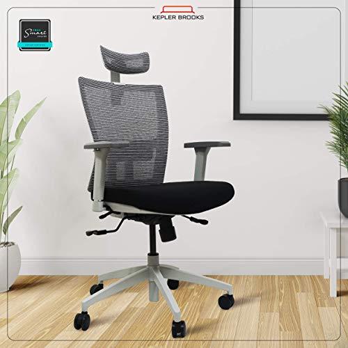 Kepler Brooks Citius Mesh High Back Adjustable, Ergonomic & Reclining Office/Desk Chair (Black & White)