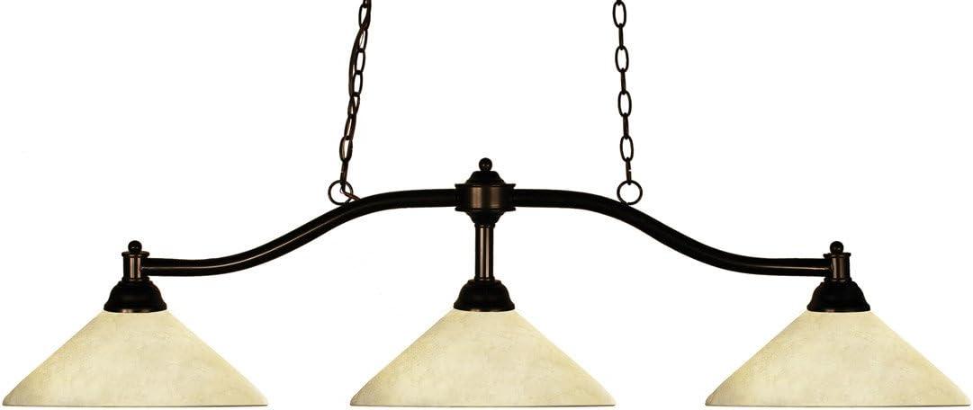 Island Lighting 3 Light With Bronze Finish Steel Medium Base Bulb 14 inch 300 Watts