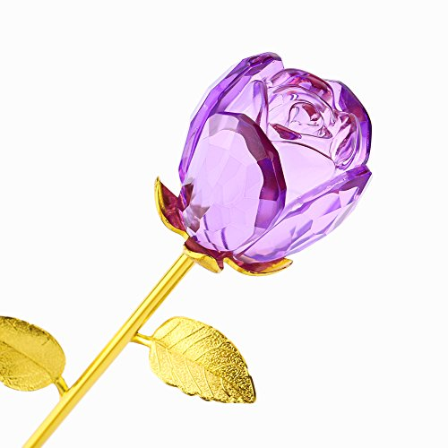 - ZJchao Glass Rose Flower, 24K Gold Plated Long Stem Artificial Rose Flower Happy Anniversary Birthday Valentines Gift for Her (Bud-Purple)