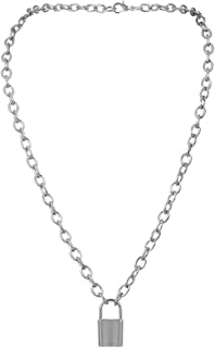 Necklaces for Women,Creative Lock Shape Pendant Padlock Charm Pendant Chain Gorgeous Sliver Vintage Jewelry