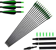 Tongtu 12pcs Fiberglass Arrows Hunting Archery Target Arrows for Recurve Bow Longbow Replacement Hunting Arrow