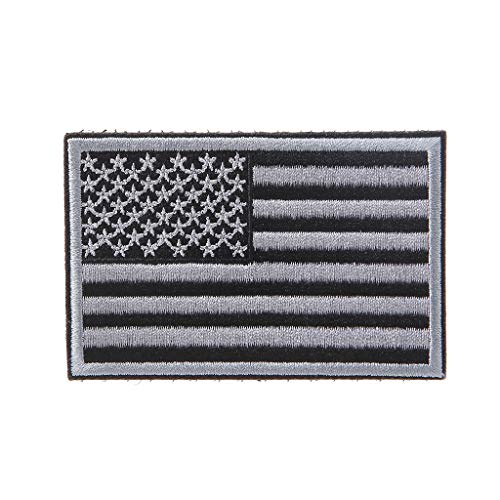 Kofun American Flag Embroidered Patch USA Military Tactical Badges Backpack Applique Gray ()