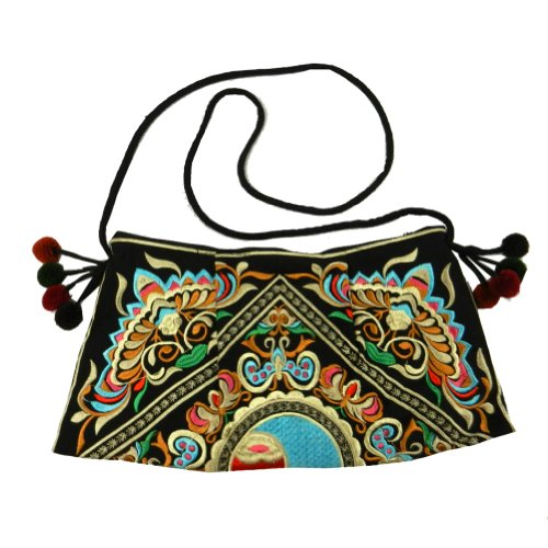 BTP! HMONG Bag Swingpack Hill Tribe Ethnic Embroidered Sling Crossbody Hippie Hobo Shoulder Purse (Black HMSP9)
