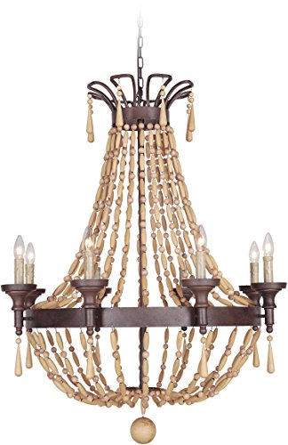 Jeremiah 36828-AG Berkshire 8 Light Chandelier with Unfinished Light Wood Beads, Aged Bronze Textured
