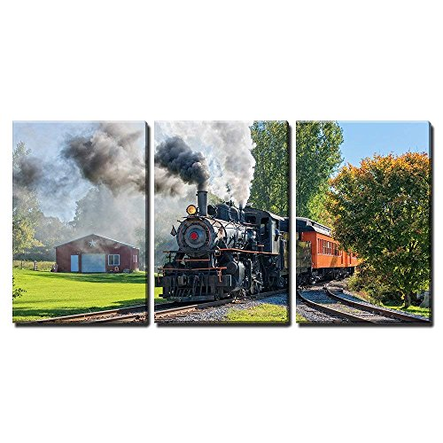 (wall26 - 3 Piece Canvas Wall Art - Old Vintage Steam Engine Arriving at The Train Depot - Modern Home Decor Stretched and Framed Ready to Hang - 16
