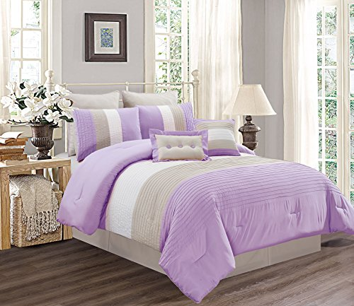 8 Piece QUEEN Size LILAC PURPLE / WHITE / GREY Pin Tuck Stripe Regatta Goose Down Alternative Comforter set 90