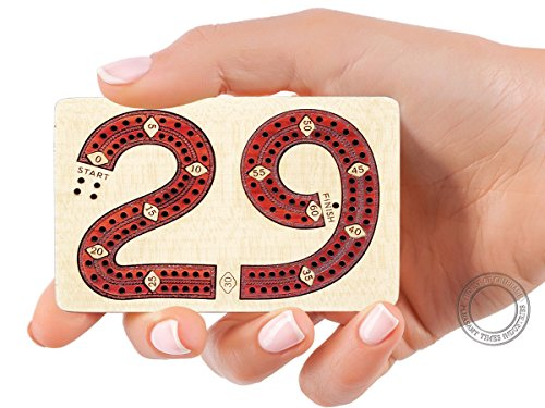House of Cribbage 2 Track - Wooden Travel - Pocket Size 29 Shape Cribbage Board - 4 Inch - Inlaid in Maple wood / Bloodwood - Storage Space for Cribbage ()