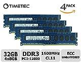 Timetec Hynix 32GB Kit(4x8GB) DDR3 1600MHz PC3-12800 Unbuffered ECC 1.5V CL11 2Rx8 Dual Rank 240 Pin UDIMM Server Memory Ram Module Upgrade (32GB Kit(4x8GB))