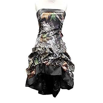 Macria Women's Chic Camo Prom Party Dress Short Hi-Lo Wedding Party Dress Size 2 Black