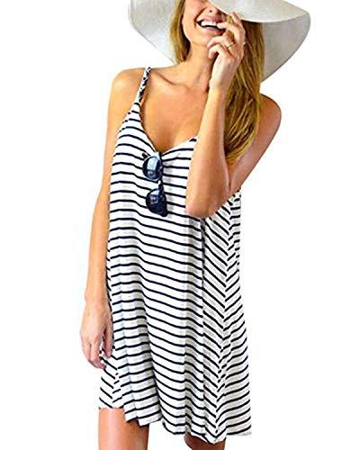 (kenoce Women's Summer Sleeveless Striped Dress V-Neck Halter Straps Blackless Loose Casual Beach Sundress Mini Dresses White M)