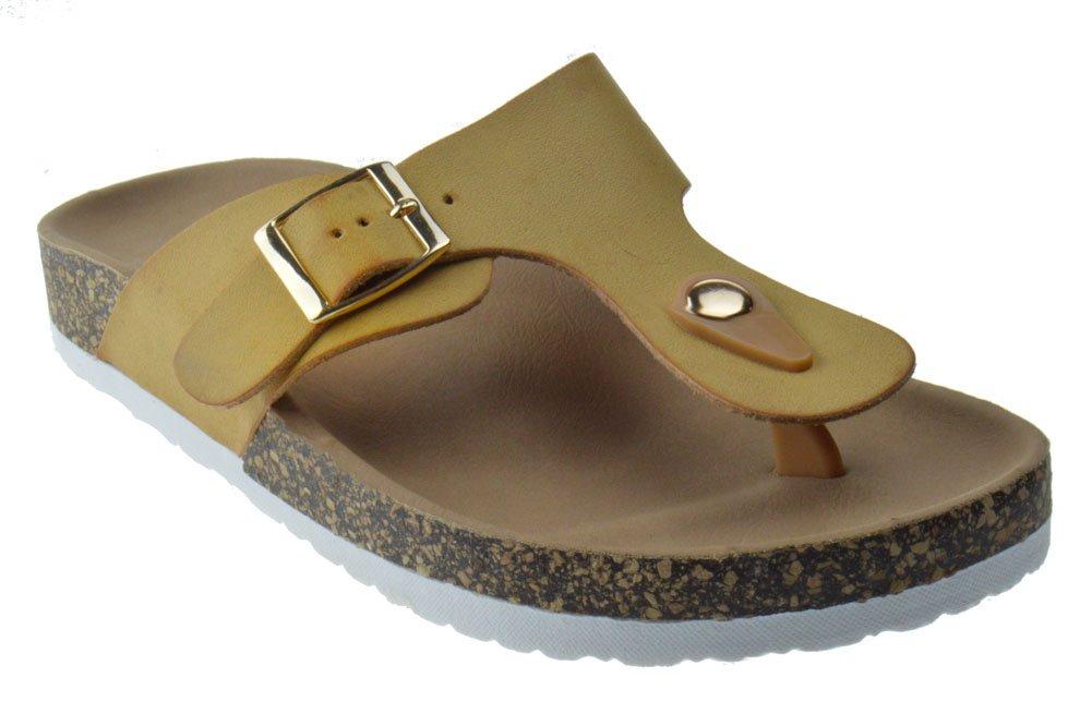 Dime 42 Womens T-Strap Comfort Slip on Sandals Camel 9