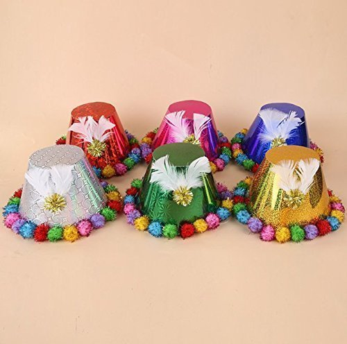 UChic 6PCS Children Christmas Tree Hat Hair Ball Fashion Magic Paper Cap Child Birthday Hat Cute Feather Party Christmas Hat(Color Randomly)