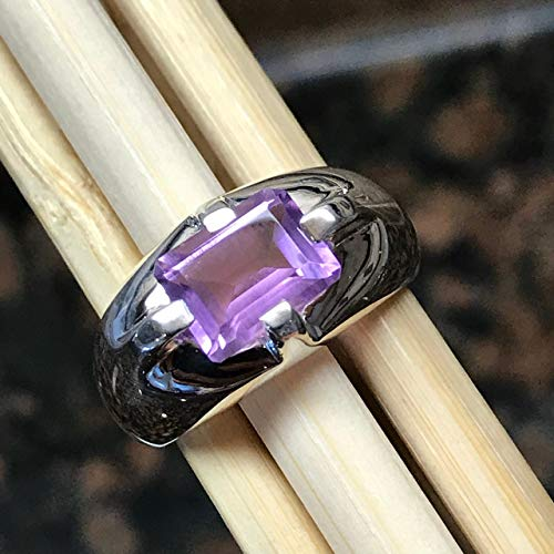 (Natural 2ct Rose de France Amethyst 925 Solid Sterling Silver Emerald Cut Unisex Ring 6, 7, 7.75, 8, 9)