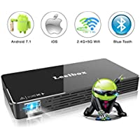 Mini Projector,Portable Android 7.1 OS DLP Video Projector for iPhone,iPad and Laptop, Leelbox Pocket Projector Support WiFi/HDMI/Bluetooth/USB/TF Card/Audio for Home Cinema,Games, Office, Outdoor