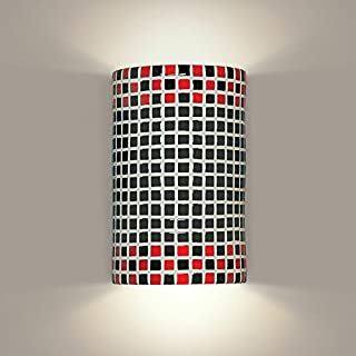 product image for A19 Checkers Wall Sconce, 4-Inch by 6-Inch by 9.5-Inch, Red/Black