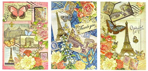 94290 Punch Studio Note Card Set (12) Butterfly Paris Trio in Vinyl Pouch Thank You Eiffel Tower Roses
