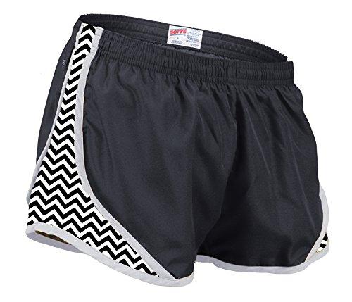 (Soffe Women's Printed Team Shorty Shorts, Black/Black Chevron, Medium)