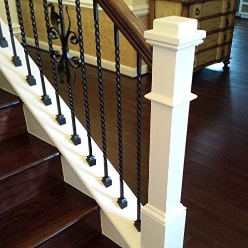 Balaustres de hierro para escalera (paquete de 5) balaustres de metal de giro largo – huecos de metal de 1/2 pulgadas de largo (negro satinado real no mate): Amazon.es: Bricolaje y herramientas