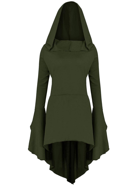 Gemijack Womens Halloween Costumes Hoodies Long Sleeve High Low Medieval Dress Lace Up Hooded Cloak