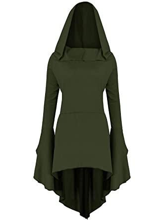 bf130cd7 Amazon.com: Gemijack Womens Renaissance Costumes Hoodies Long Sleeve High  Low Medieval Dress Lace Up Hooded Cloak: Clothing