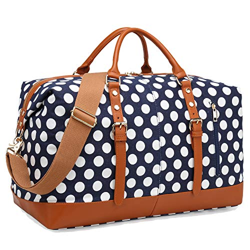 CAMTOP Weekend Travel Bag Ladies Women Duffle Tote Bags PU Leather Trim Canvas Overnight Bag (Blue - Polka Dot)