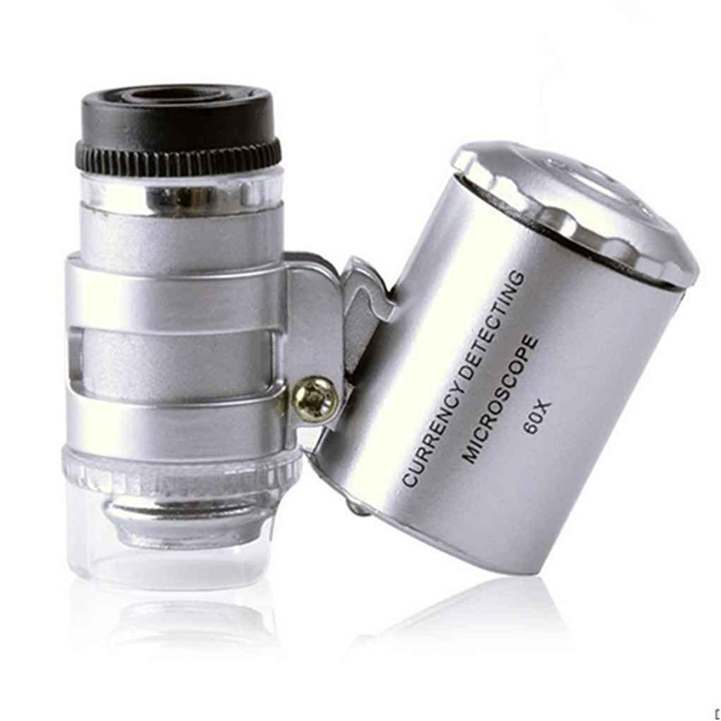 60X Handvergr/ö/ßerungsglas Minitaschen-Mikroskop-Lupe UVw/ährungdetektor Juwelier Lupe mit Licht
