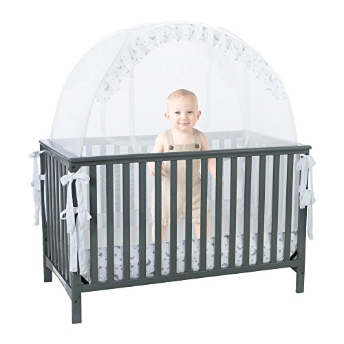 Baby Crib Safety Pop up Tent: Premium Baby Bed Canopy Netting Cover| See Through Mesh Top Nursery Mosquito Net |Stylish and Sturdy Unisex Infant Crib Tent Net |Protect Your Baby from Falls and Bites