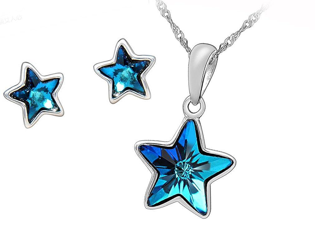 Juego de colgante y pendientes (plata de ley y cristales de Swarovski), diseño de estrella, color azul Forfamilyltd SET141111