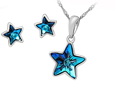 crystal pendant with swarovski elements star silver blue chain p