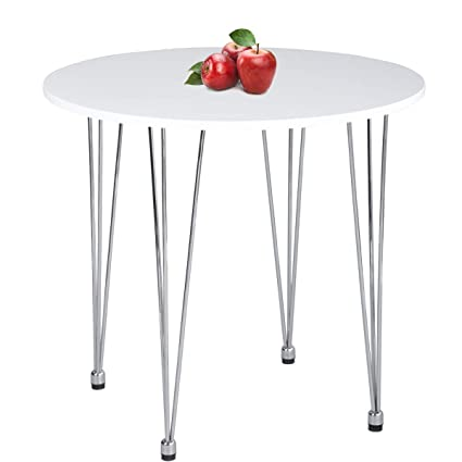 Greenforest Round Dining Table Modern Metal Craft Legs Pedestal Leisure Table White
