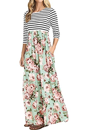 OURS Women's Striped Floral Print Elastic Waist 3/4 Sleeve Maxi Dress with Pockets (Mint Floral, XXL) ()