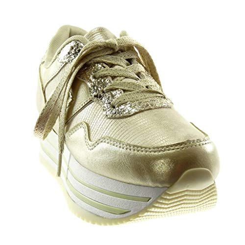 Compensée Angkorly Chic Sporty Femme Chaussure 4 Brillant Talon Tennis Basket Or Compensé Cm Croco Plateforme Mode Tpqtwrp