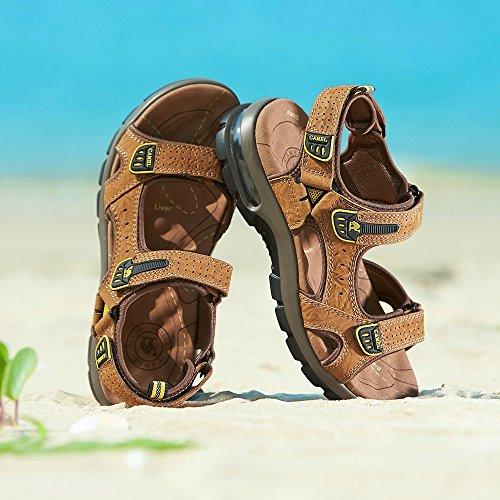 Playa con la Viajar Transpirable Verano Zapatos Casual al Hombres para Aire Perfecto para Agujero Sneaker Brown Libre Sandalias Caminar en de TqxfUU