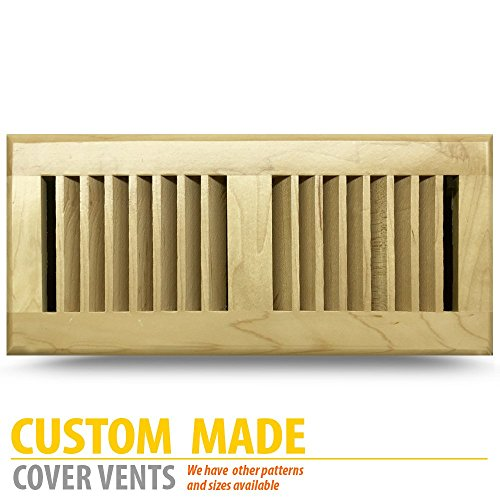 MAPLE wood Floor Register, 6x14Inch (Duct Opening Measurements), Light Finish, classic METAL adjustable (Maple Louvered Register)