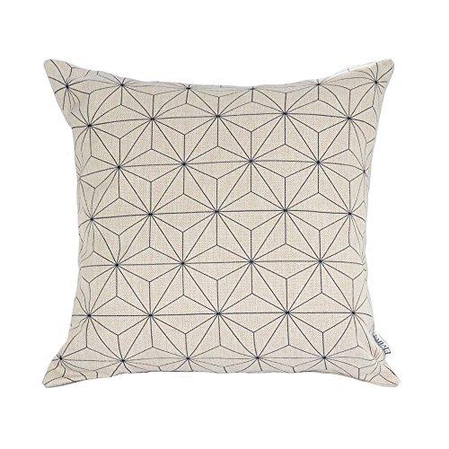 Elviros linen cotton blend decorative scandinavian modern geometric design zippered throw pillow cover 18x18
