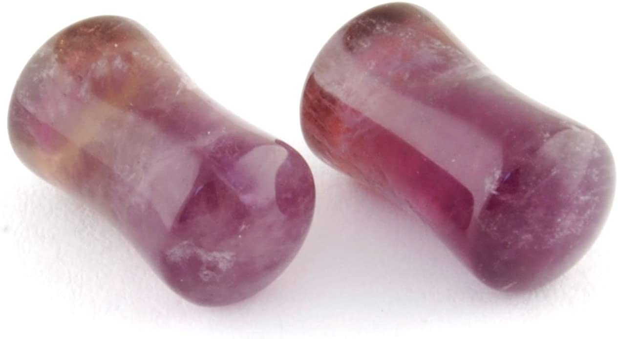 Double Flare Red Amethyst Stone Plugs
